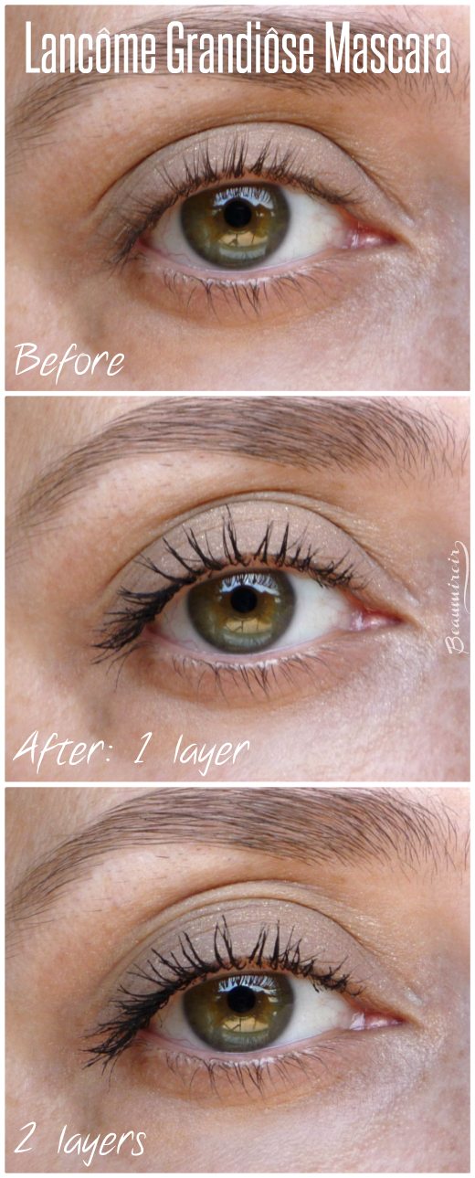 Lancome Grandiose mascara: before/after pictures, with 1 and 2 layers