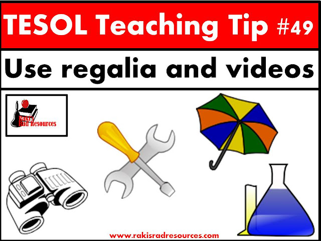 TESOL Teaching Tip #49 - Use regalia and videos to help your esl or ell students understand vocabulary. Find specific tips on how to do this at my blog post - Raki's Rad Resources