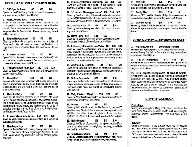 Pages of Ohio Poetry Day flyer, with the list of poetry contests