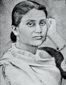 A sketched image of Dr. Kadambani Ganguly, with her left hand on her face.