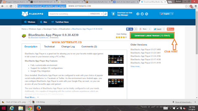 For Downloading Bluestacks Click On the Area Arrows Shows