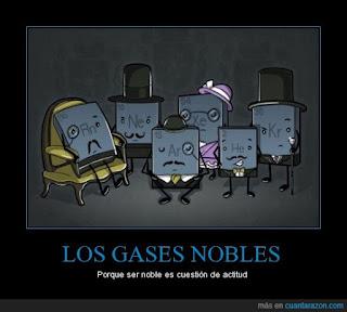 Los gases nobles son representados humanizados como si fuesen personas nobles con sombreros, bigotes finos, monóculos y bastones. Se trata de un chiste químico o humor científico.