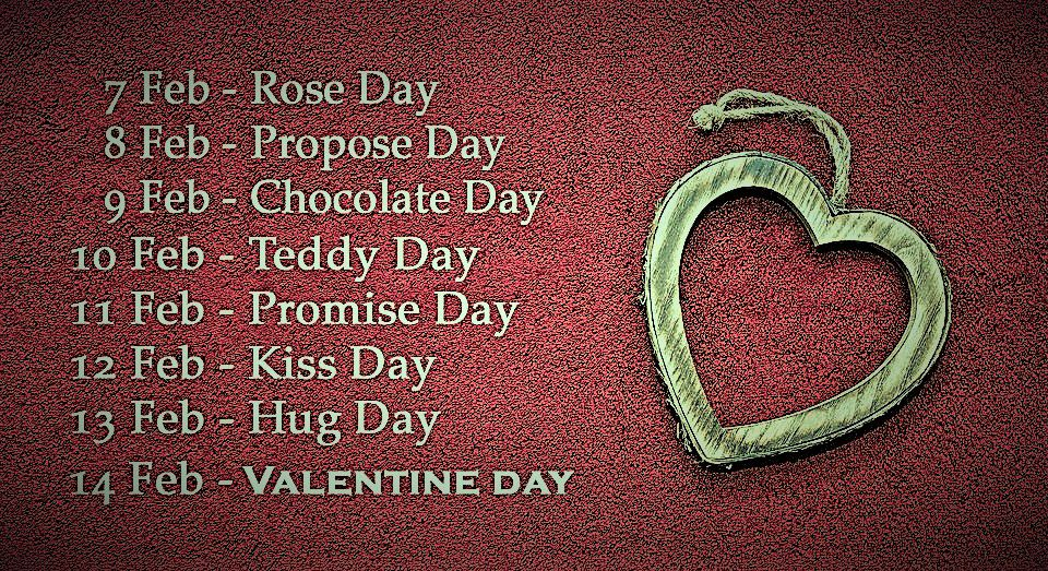 valentines week list images, days name of valentines week, date and days name