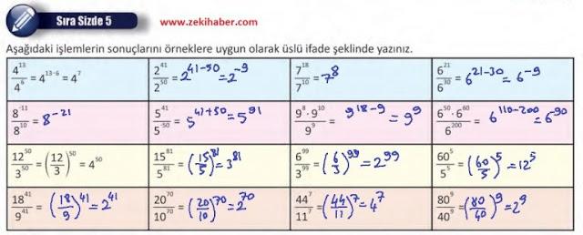8. Sınıf MEB Yayınları Matematik 29. Sayfa Cevapları 1. Ünite