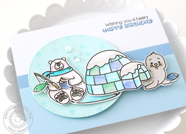 Sunny Studio Stamps: Polar Playmates & Playful Polar Bear Winter Birthday Card by Nancy Damiano