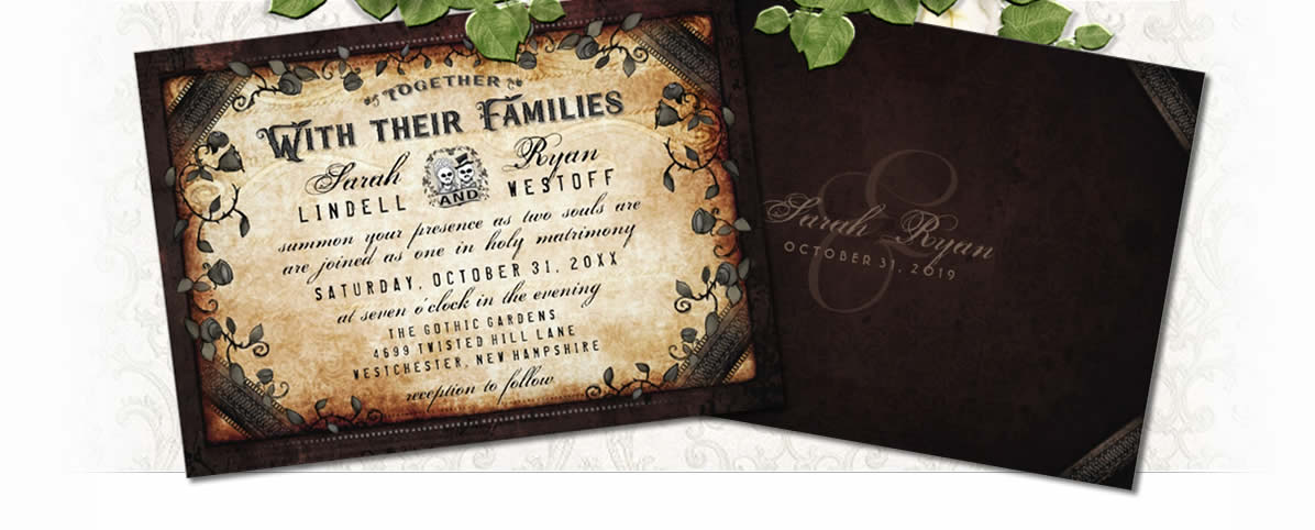 brown gothic wedding invitation together with family template
