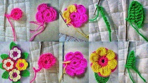 Cómo hacer una flor con hojas al crochet