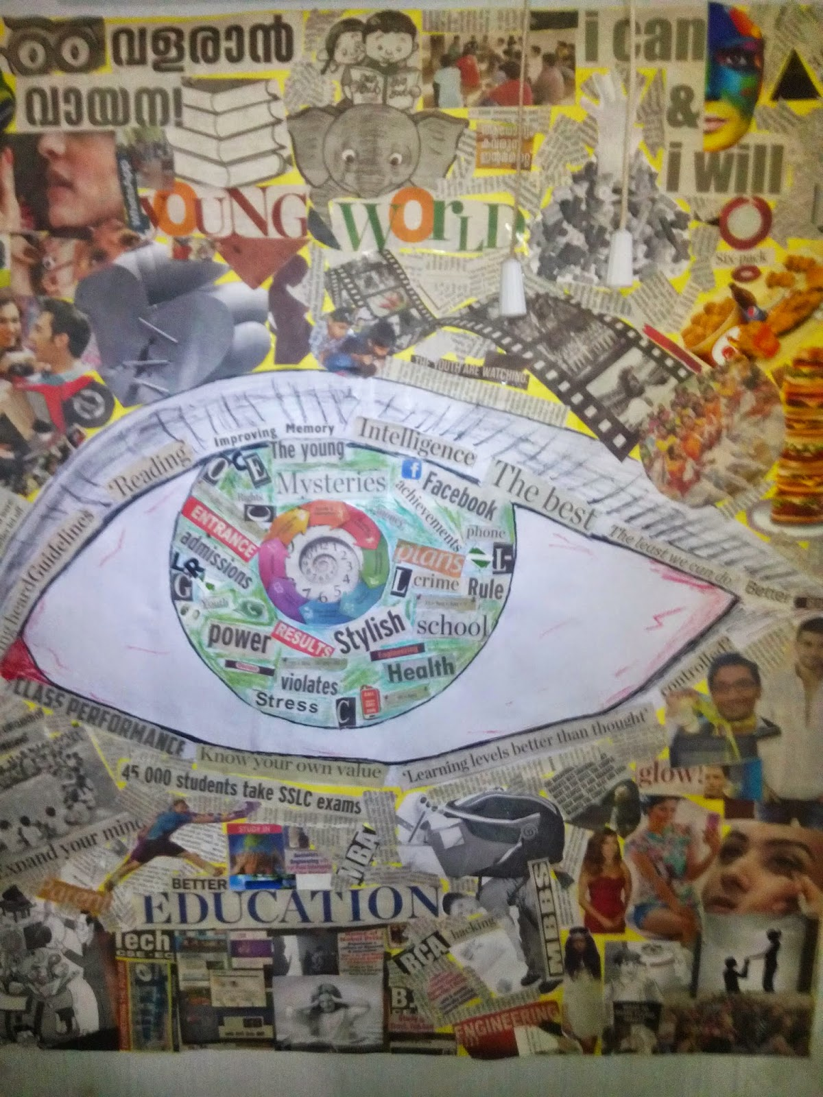 Shape of the eye made in collage
