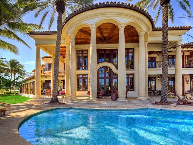 Architecture Corner Luxury Mediterranean Home Florida