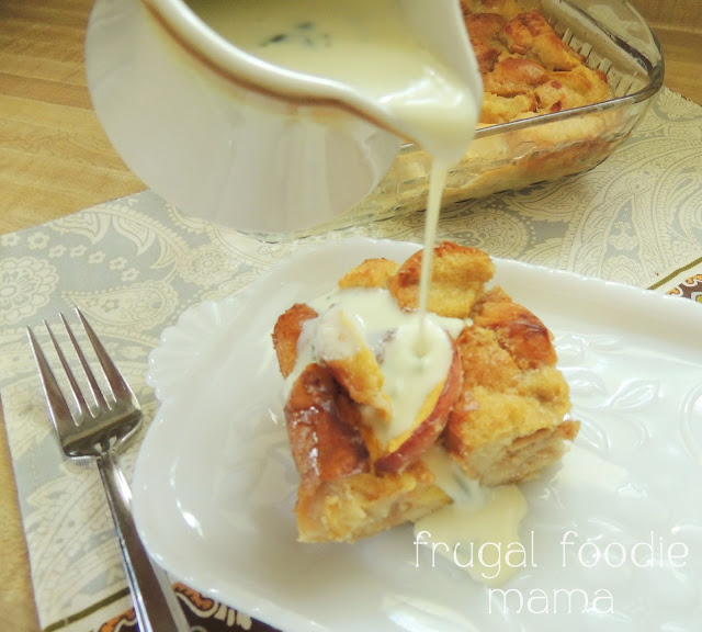 Traditional bread pudding is taken to a whole level of deliciousness with the addition of juicy peaches & a sweet basil cream sauce.