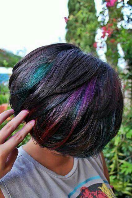 Trendy Oil Slick Coloring For Girls With Dark Hair