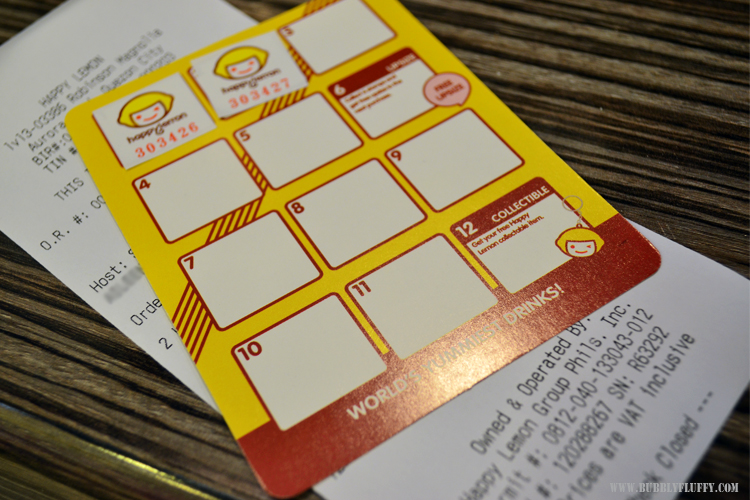Happy Lemon Stamp Collection Loyalty Card