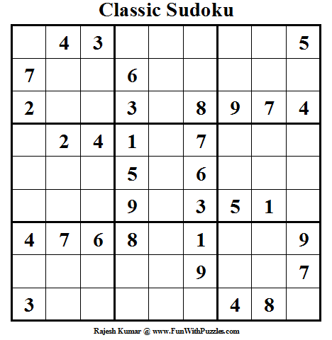 Classic Sudoku (Fun With Sudoku #16) (Happy World Sudoku Day)