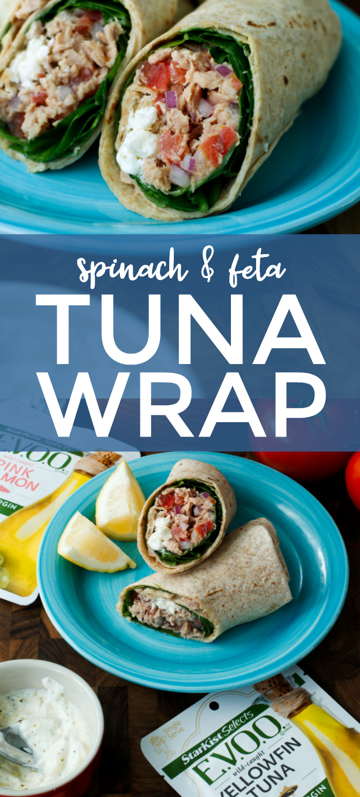 Light, fresh, and full of flavor, this Spinach and Feta Tuna Wrap is the perfect summer lunch!  It's made with @starkist E.V.O.O.™ Wild-Caught Yellowfin Tuna in Extra Virgin Olive Oil, fresh spinach, and a cool feta dressing. The extra virgin olive oil gives the tuna a rich, mellow flavor that is perfect for this wrap!  You will LOVE it! #tuna #wrap AD
