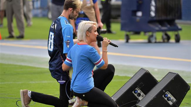 US national anthem singer Meghan Linsey who joined kneeling protest gets death threats
