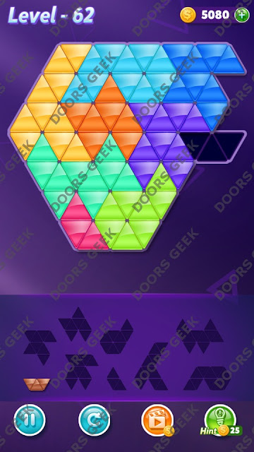 Block! Triangle Puzzle 9 Mania Level 62 Solution, Cheats, Walkthrough for Android, iPhone, iPad and iPod