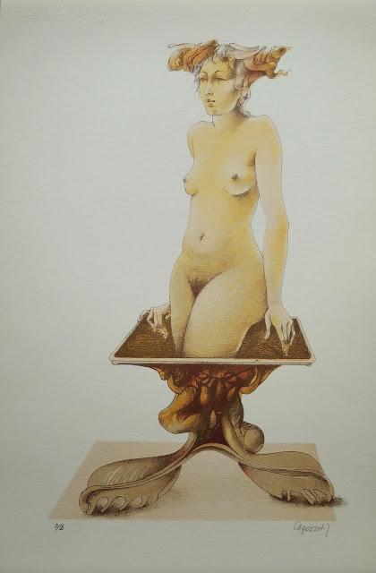 Glauco Capozzoli desnudo litografía