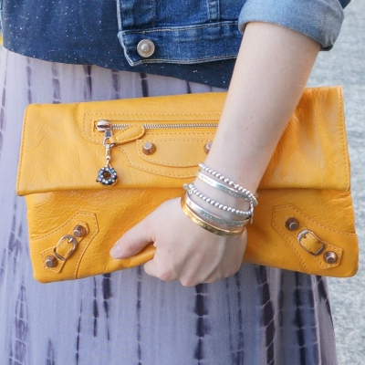 Balenciaga envelope clutch in 2012 mangue with giant 12 RGGH mixed metal bracelet stack | awayfromtheblue