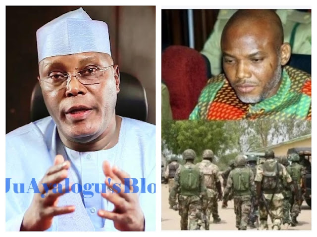 Ex-VP Atiku speaks on violence between Nigerian Army and Kanu's supporters, reveals solution to Biafran agitation