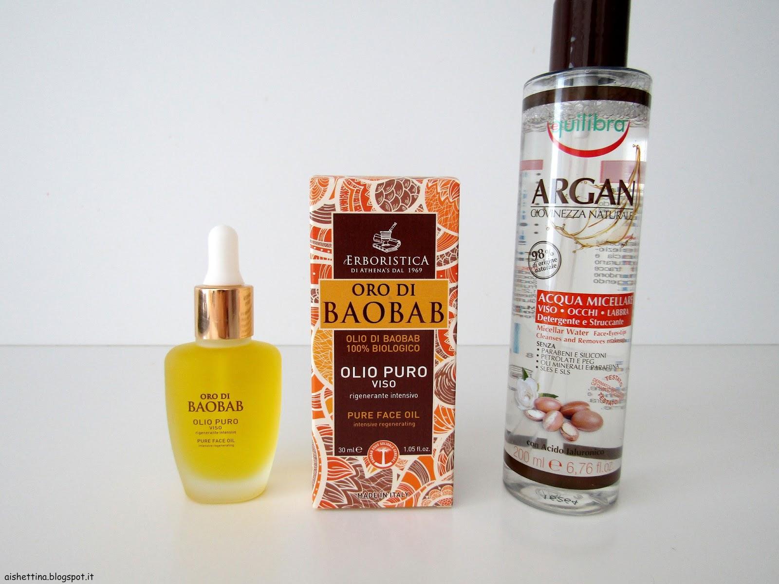 equilibra acqua micellare, oro di baobab erboristica