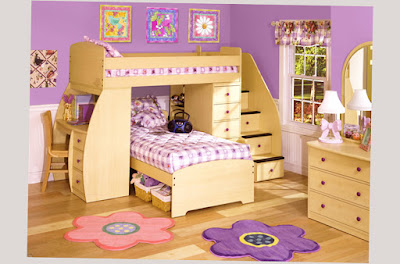 Photo Image for Cool Bunk Beds For Girls And Boys Brown and Purple Color Good Wood