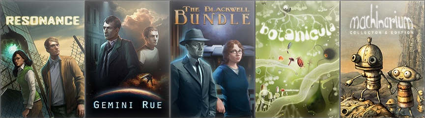 Resonance, Gemini Rue, Blackwell Bundle, Botanicula y Machinarium.