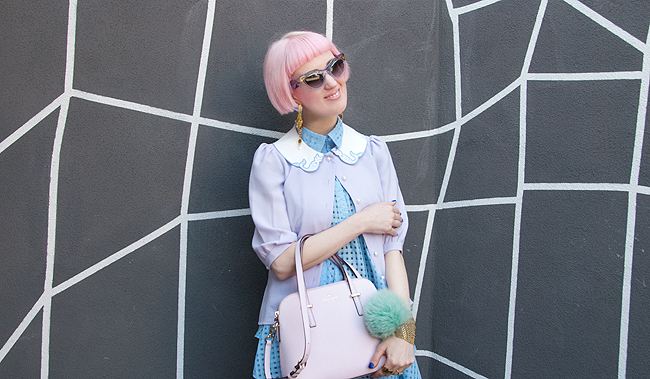 pastel look, mermaid outfit, lilac cardigan