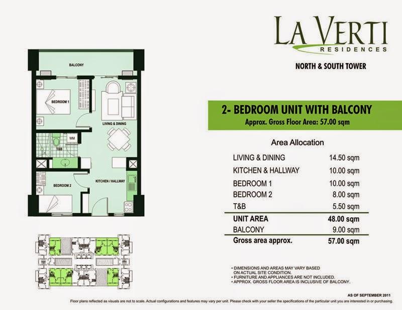 La Verti Residences 2-Bedroom 57.00 sqm