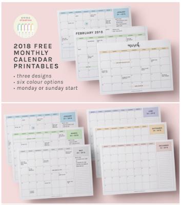 2018 free monthly calendar printables