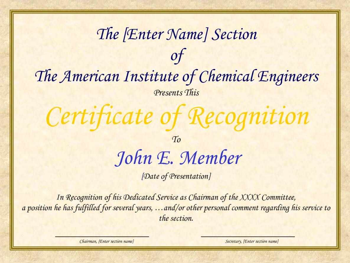 sample of certification of recognition