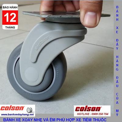 Bánh xe cao su Performa càng nhựa Colson phi 75 - 3inch chịu lực 70kg www.banhxepu.net
