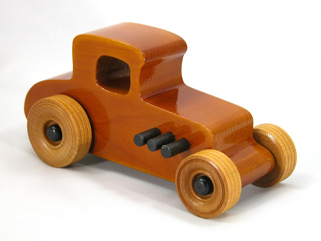 Right Front - Wooden Toy Car - Hot Rod Freaky Ford - 27 T Coupe - Pine - Amber Shellac - Black Hubs