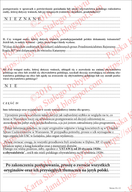 Wniosek o potwierdzenie posiadania obywatelstwa polskiego (s.10)