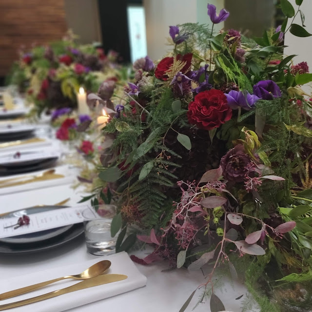 floral table setting at Amara lunch