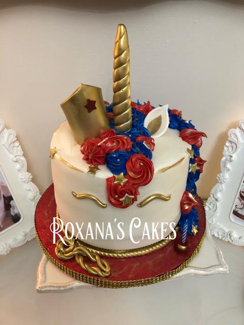 WonderWoman Unicorn Themed Birthday Cake
