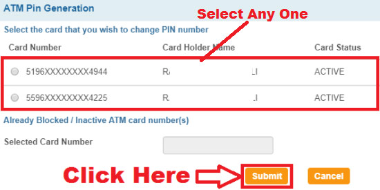 how to generate sbi atm card pin online