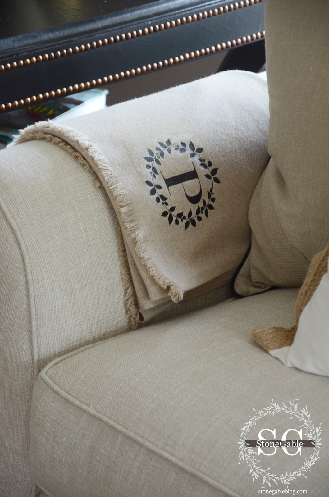 Diy Roman Chair Country Kitchen Chairs No-sew Monogrammed Wool Throw - Stonegable