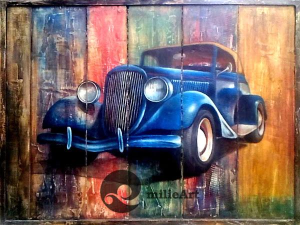 lukisan mobil pada kayu recycle
