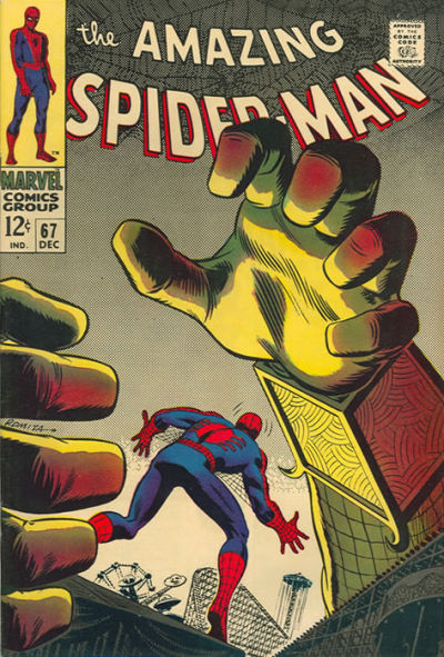 Amazing Spider-Man #67, Mysterio's giant hands, All-time Top Ten John Romita Spider-Man Covers