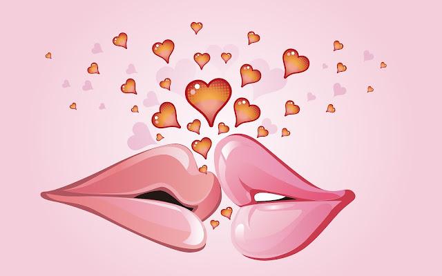 Roze liefdes achtergrond met hartjes en twee kussende lippen