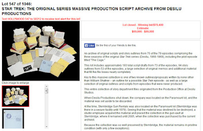 Star Trek Prop, Costume & Auction Authority: TOS Script Archive from