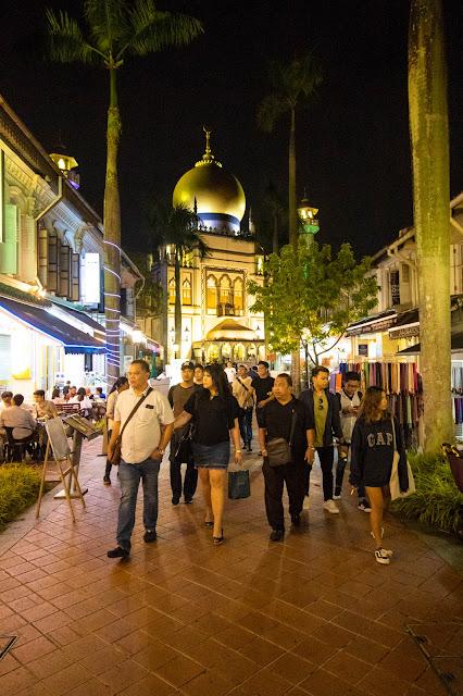 Moschea-Quartiere arabo di notte-Singapore