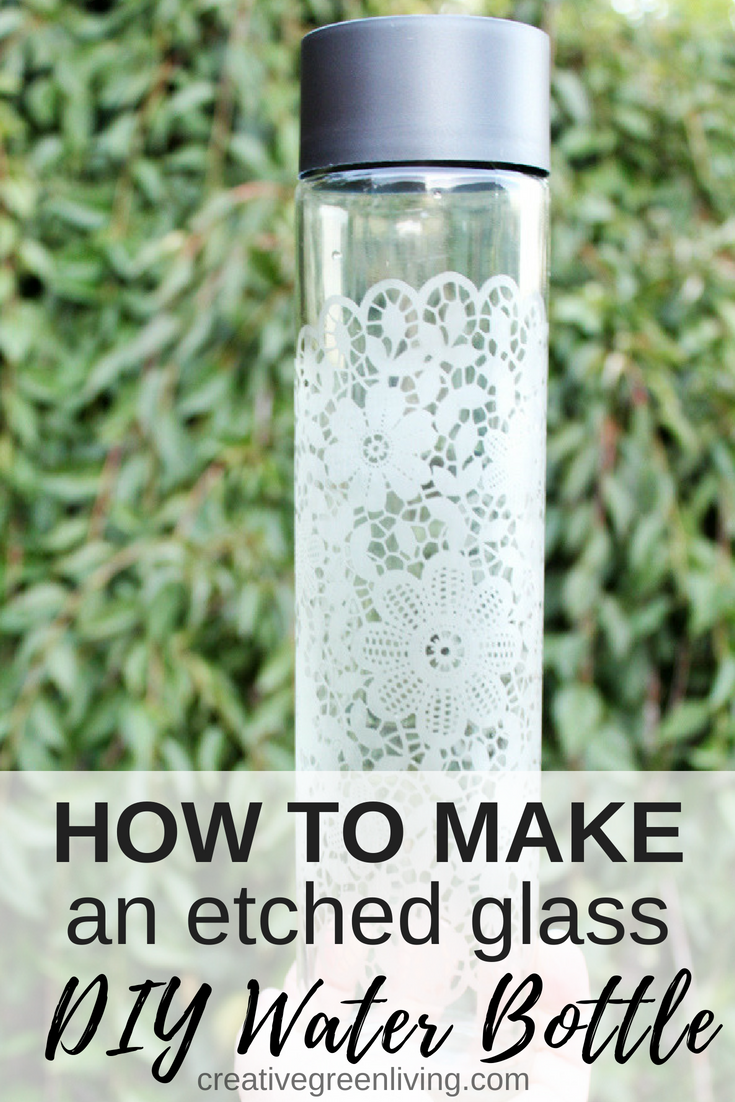 How to make a personalized DIY water bottle craft. I love this idea for how to make an empty Voss glass water bottle into a pretty etched glass water bottle with fancy designs. Because the glass is etched, you don't have to worry about stickers or vinyl peeling off. What a cool way to recycle and it would make an awesome gift, too!