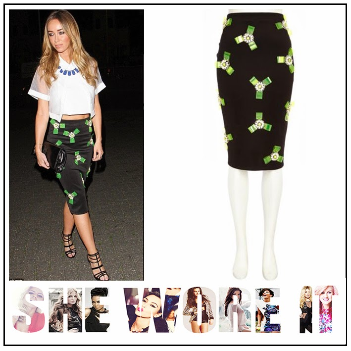 The Only Way is Essex, Lauren Pope, River Island, Black, Satin, Bodycon, Midi Skirt, 3D Floral Detail, Missguided, Sheer, White, Cropped, Structured, Shirt, Button Detail, TOWIE,