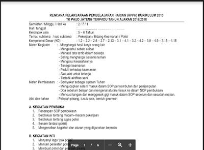 RPPH TK Tema Pekerjaan Sub Tema Bidang Keamanan/ Pemerintahan K13