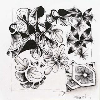 Tangle pattern refresher #57 Assunta, Sparkool, Fanz, Slaint, Spokes