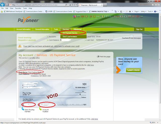 Completar US Payment Service de payoneer - Explicado por Argendolar