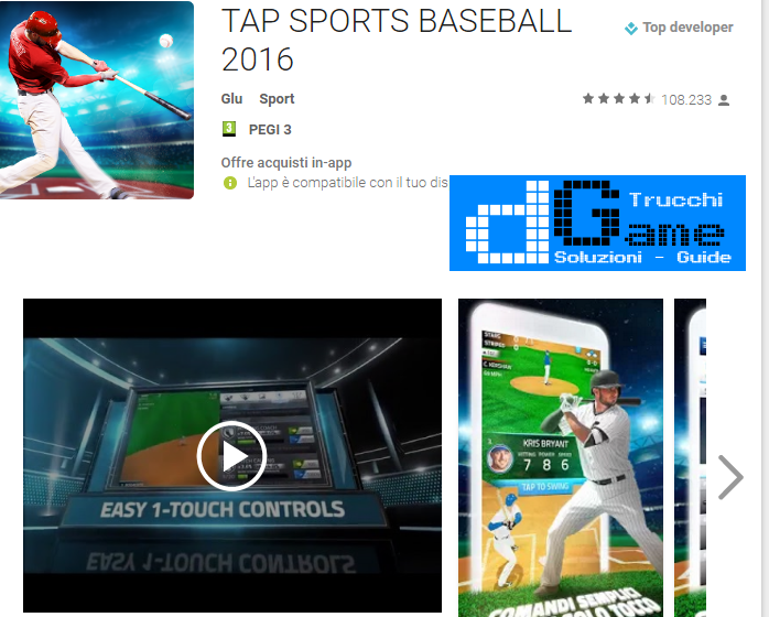 Trucchi TAP SPORTS BASEBALL 2016 Mod Apk Android v1.2.3