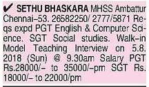 Sethu Bhaskara Matric. Hr. sec. School Conducting Walk-in for PGT/SGT Teachers