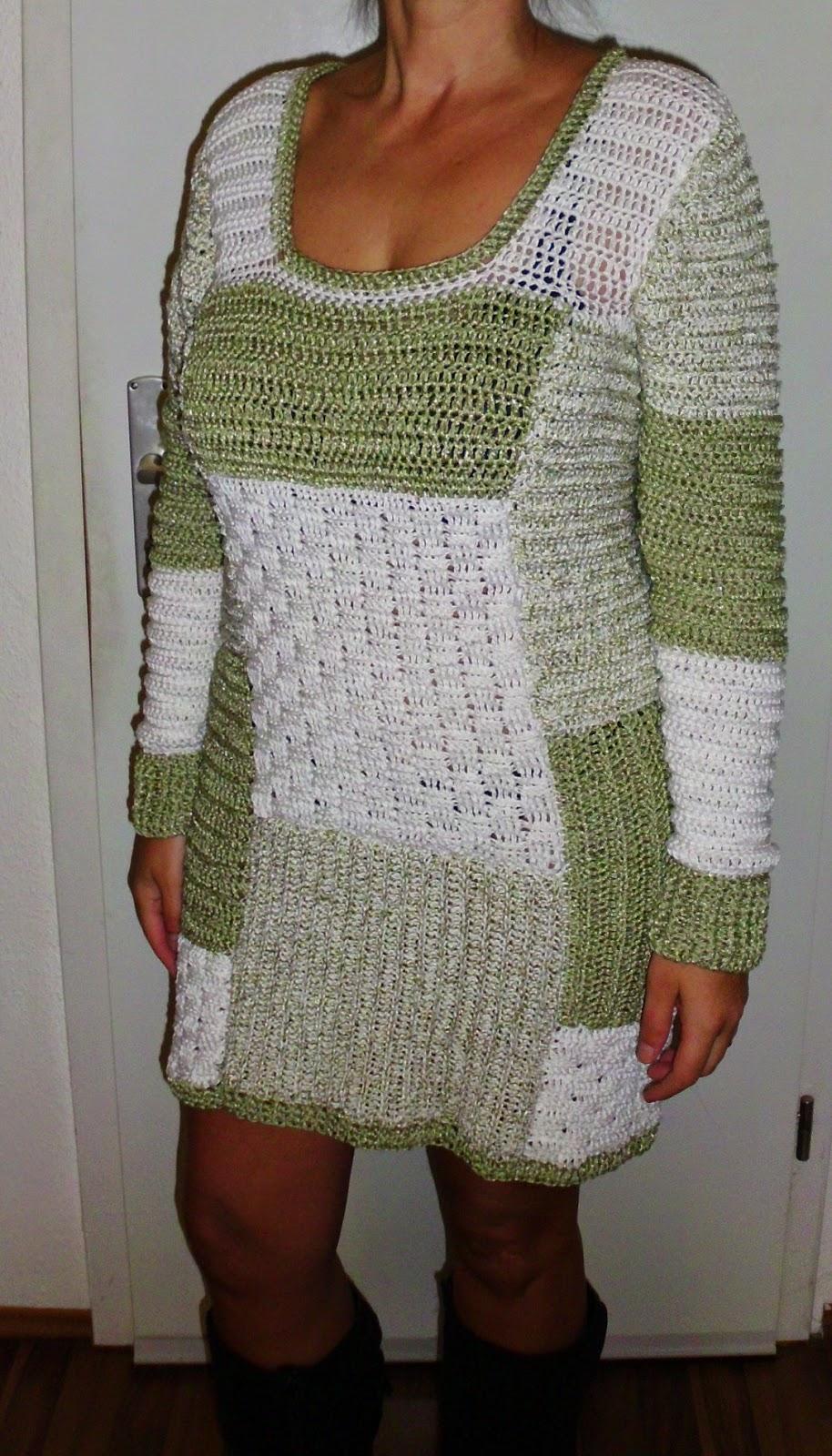 Häkelkleider Selbst Gemacht Winter Patchwork Kleid